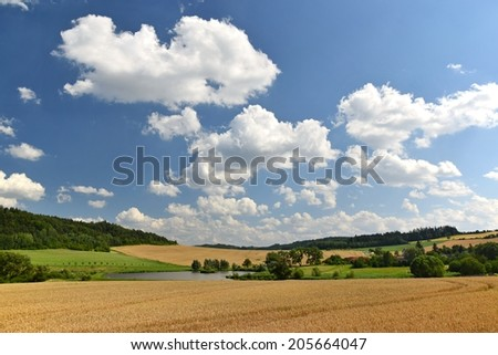 Beautiful landscape with meadow, forest and clouds.  Natural background Europe Czech Republic - stock photo