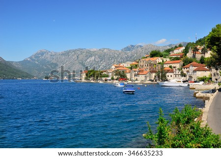 Beautiful landscape with mediterranean town - Perast, Kotor bay (Boka Kotorska), Montenegro. Kotor Bay is a UNESCO World Heritage Site - stock photo