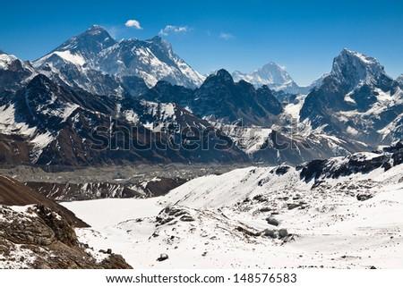 Beautiful landscape with Mount Everest. Himalayas. Nepal - stock photo