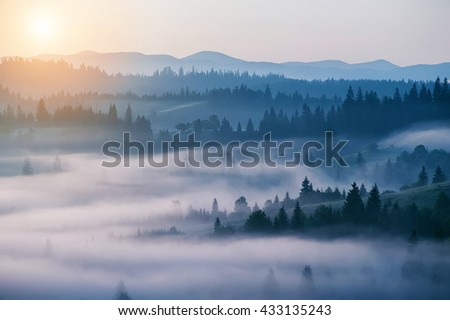 beautiful landscape with mountain view and morning fog on sunrise.  natural summer background - stock photo