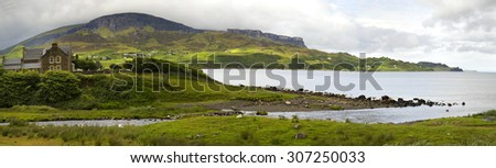 Beautiful landscape with mountains, hills and house at Garrafad, isle of skye, Scotland - stock photo