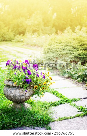 beautiful landscape with park and garden flowers - stock photo