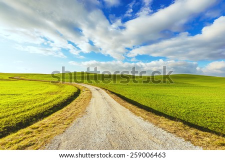 Beautiful landscape with road, green fields and blue sky in the background. - stock photo