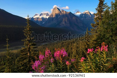 Beautiful landscape with Rocky Mountains at sunset, Banff National Park, Alberta, Canada - stock photo