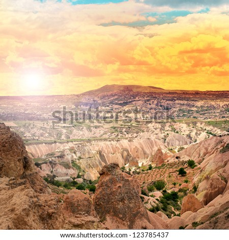 Beautiful landscape with sunset in the Cappadocia mountains - stock photo
