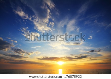 beautiful landscape with sunset over sea  - stock photo