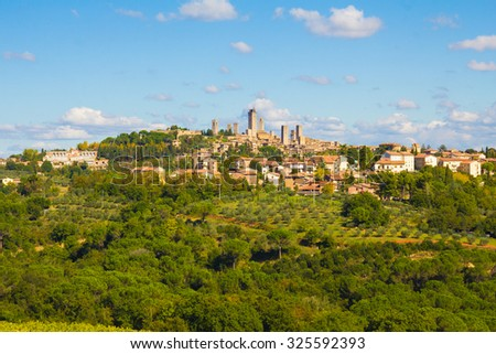 Beautiful landscape with the medieval city of San Gimignano in Tuscany, province of Siena, Italy. - stock photo