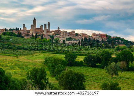 Beautiful landscape with the medieval city of San Gimignano in Tuscany, province of Siena, Italy - stock photo