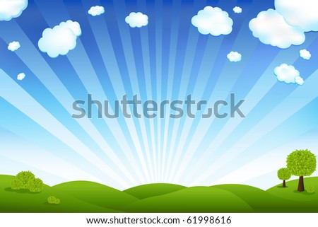 Beautiful Landscape With Trees And Clouds - stock photo