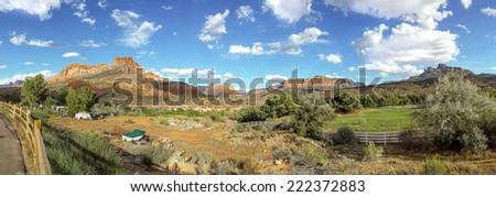 beautiful landscape zion national park utah panorama - stock photo