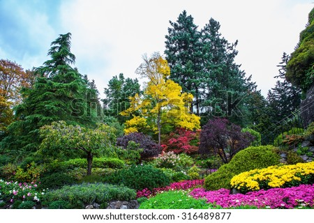 Beautiful landscaped park-garden on Vancouver Island, Canada. - stock photo