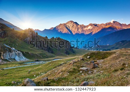 Beautiful landscapes with high mountains of Georgia, Europe. Caucasus mountains. Beauty world. - stock photo