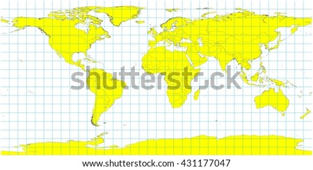 Beautiful Large World Map Illustration - Yellow Country Polygons with No Country Names - Grid Lines - stock photo