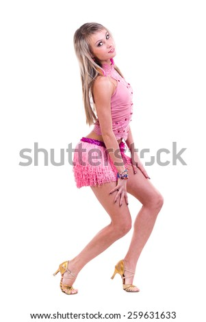 Beautiful Latino dancer woman in action. Isolated on white background in full length. - stock photo