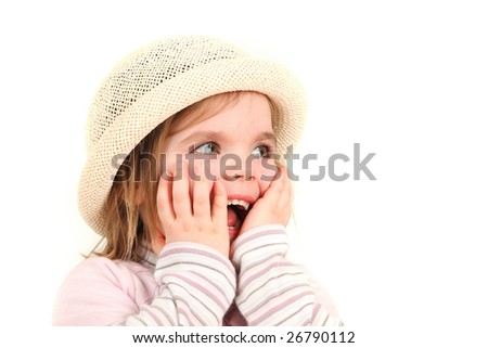 Beautiful laughing by three years old lady in pink - isolated on white background with copy space - stock photo