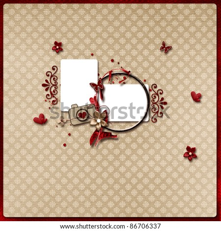 Beautiful layout in red and light brown colors - stock photo