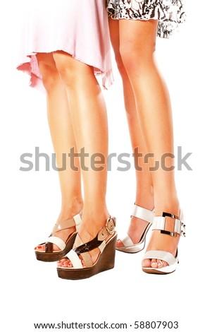 Beautiful leg in shoe isolated - stock photo