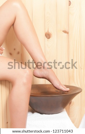 beautiful legs care in an spa - stock photo