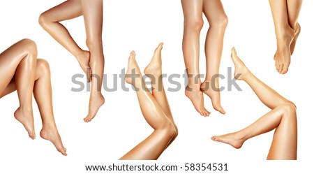 Beautiful legs on white background - stock photo