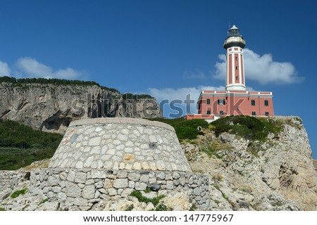 Beautiful lighthouse on a high cliff.Capri, Italy - stock photo