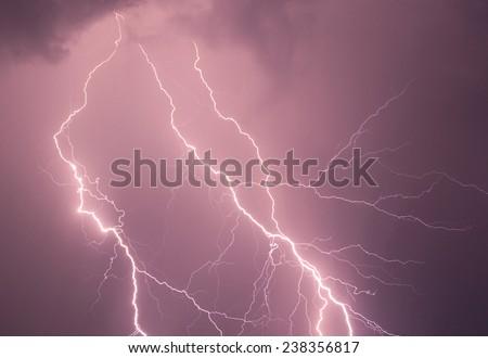 Beautiful lightning disturb the quiet country life broke the night silence. - stock photo