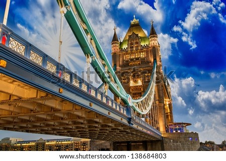 Beautiful lights of Tower Bridge in London - UK - stock photo