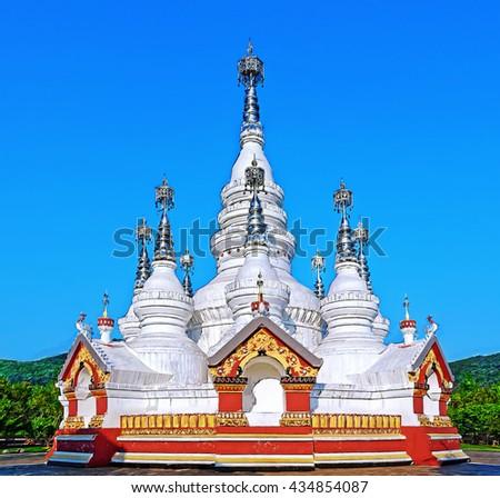 Beautiful Ling Shan temple at Wuxi, China. Illustration - stock photo