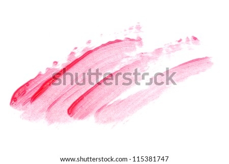 beautiful lip gloss smears, isolated on white - stock photo