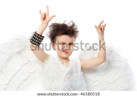 Beautiful little angel in rock style at a white background. - stock photo