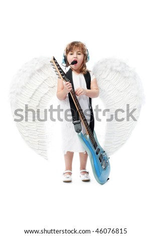 Beautiful little angel with a guitar at a white background. - stock photo