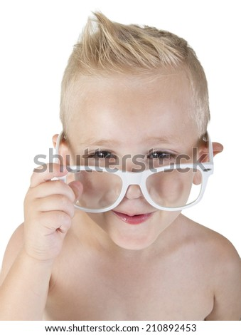 beautiful little boy in glasses smiling on white isolate - stock photo