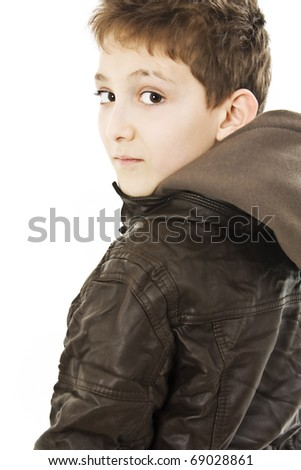 Beautiful little boy on a over white background. - stock photo