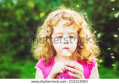 Beautiful little curly girl blowing dandelion, horizontal shot - stock photo