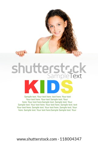 Beautiful little girl against a white blank with sample text - stock photo