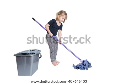 Beautiful Little Girl Doing Spring Cleaning Chores with Mop and Bucket barefoot. Isolated on white background. - stock photo
