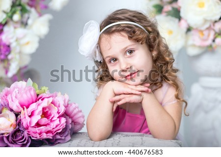 Beautiful little girl four years old - stock photo