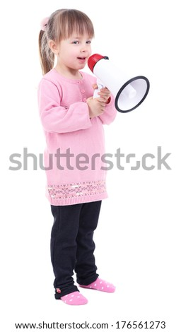 Beautiful little girl holding bullhorn isolated on white - stock photo