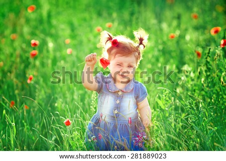 beautiful little girl in a field of poppies - stock photo