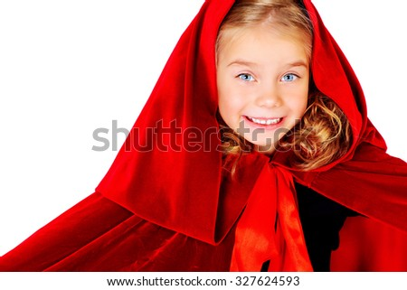 Beautiful little girl in a red raincoat with a hood. Little Red Riding Hood. Isolated over white. - stock photo