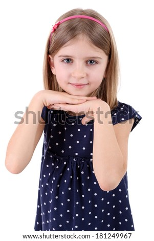 Beautiful little girl isolated on white - stock photo
