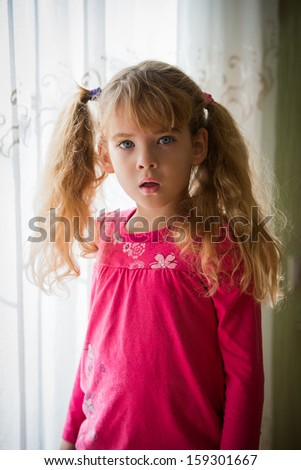 beautiful little girl looking surprised  - stock photo