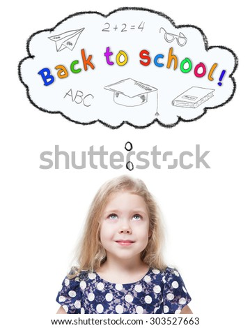 Beautiful little girl looking up on Back to school isolated over white  - stock photo