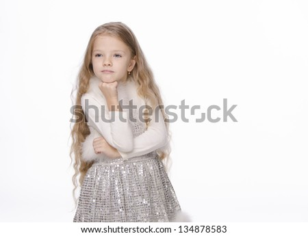 beautiful little girl with a long blond hair on a white background - stock photo