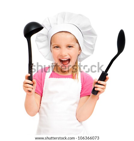 beautiful little girl with a spoon and a ladle over white - stock photo