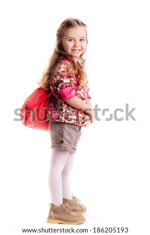 beautiful little girl with  backpack,  learning, knowledge, isolated on white background - stock photo
