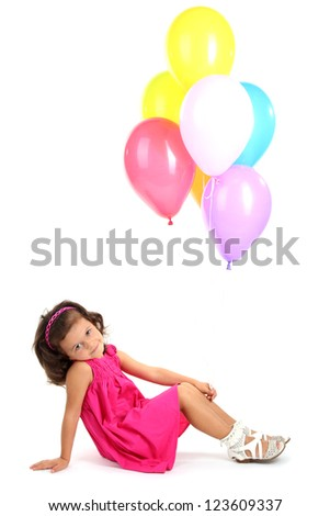 beautiful little girl with balloons isolated on white - stock photo