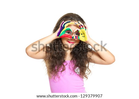beautiful little girl with hands in the paint isolated on white - stock photo