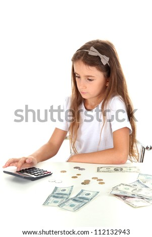 beautiful little girl with money, isolated on white - stock photo