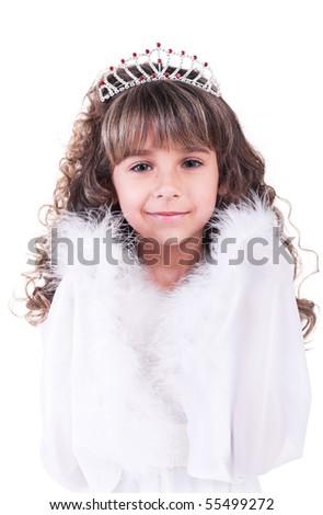 Beautiful little princess in white - stock photo