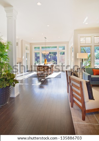 Beautiful Living Room And Dining Room in Luxury Home - stock photo